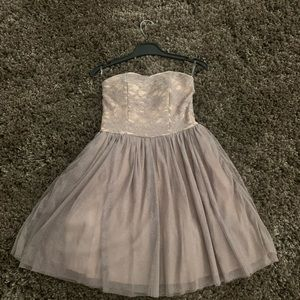 Tan Sparkly Homecoming Dress